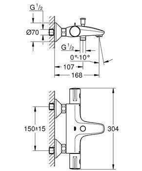 """34576000 Grohtherm 800 Термостат для ванны 1/2"""", регулируемый аэратор, настенный монтаж GROHE-12866"""
