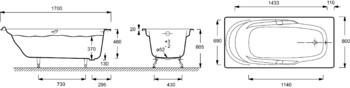 Ванна ADAGIO 170 Х 80 с отверстиями для ручек (E2910-00)-17751