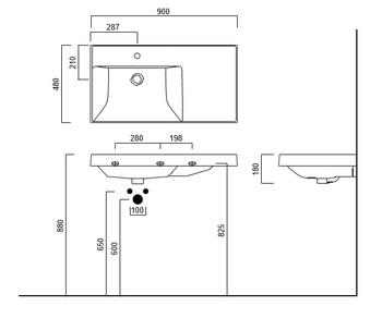 Раковина CUBO 90 левая с крепежом-14943