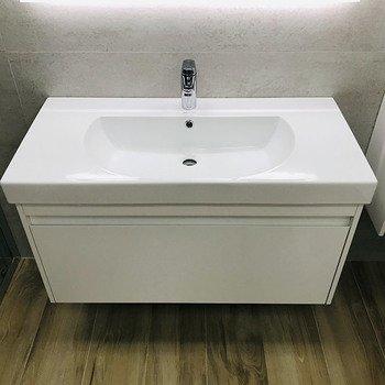 Тумба BUONGIORNO под умывальник подвесная 80 см европейский белый с 1 выдвижным ящиком + 1 внутренний ящик-13772
