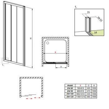 Душевая дверь Treviso DW120 1200*1900 -15508