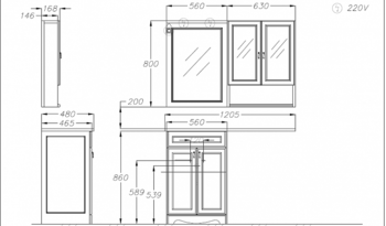 Мебель для ванной Клио под стиральную машину Белый матовый-14721