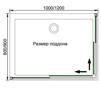 Душевой угол Veconi 1200x900x1950 (вход 590мм) Хром, RV10-12090PR-01-19C1 -19588