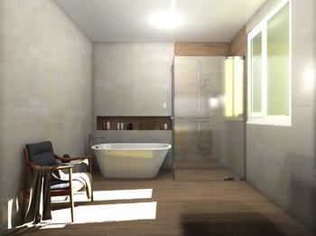 Дизайн-проект «Нежные оттенки в просторной ванной комнате»-18812