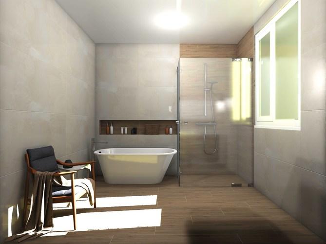 Дизайн-проект «Нежные оттенки в просторной ванной комнате»