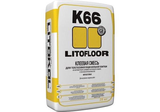 LITOFLOOR K66 Клей для толстослойной укладки напольной плитки и керамогранита по неровным основаниям 25 кг. - главное фото