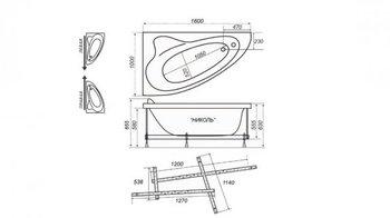 Акриловая ванна Triton Николь (левая)-10699