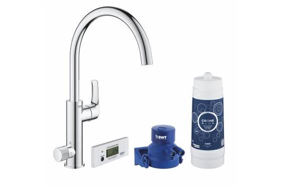 Смеситель для кухни GROHE Blue Pure Eurosmart, без электроники с C-образным изливом, для подачи смешанной и фильтрованной воды, с головкой для фильтра и счетчиком, хром (30383000) - главное фото