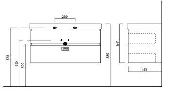 Тумба CUBO подвесная 100 белая 2 ящика-14945