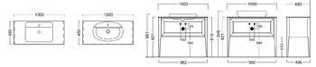 Тумба PLAZA Classic, напольная 100 см, 1 выдвижной ящик + 1 внутренний ящик, высота 810 мм, цв.белый-14388