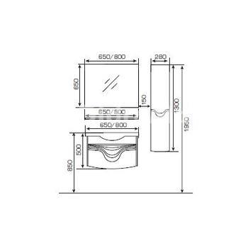 Шкаф зеркальный Mit800 (RAL бел.)-14998