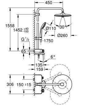 26510000 душевая стойка EUPHORIA SmartControl 260 Mono с терм., верхний душ, ручной душ (хром) GROHE-12870