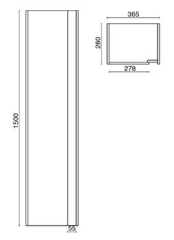 Пенал BUONGIORNO 150 см, белый-13732