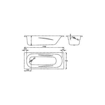 Ванна Universal Anatomica 170*75 с отвертиями под ручки 208 мм-11776