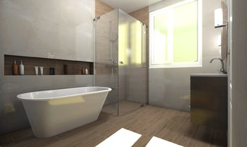 Дизайн-проект «Нежные оттенки в просторной ванной комнате»-18814