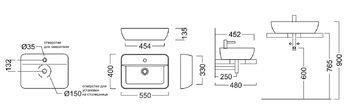 Раковина PLAZA 55х40 см накладная с отверстием под смеситель-14153