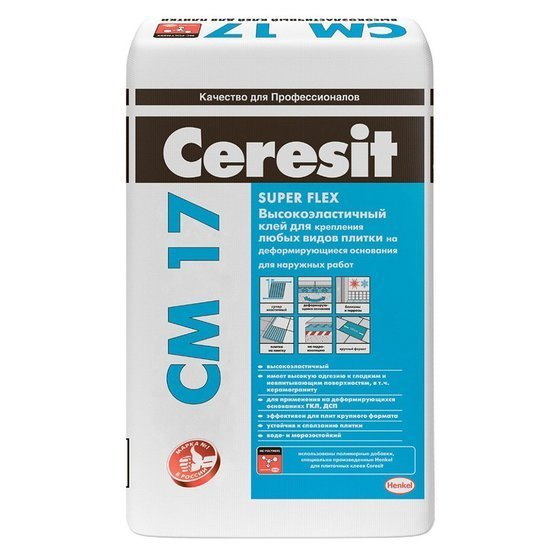 Ceresit СМ 17 Super Flex. Суперэластичный клей, армированный микроволокнами Fibre Force, для любых видов плитки 25 кг. - главное фото