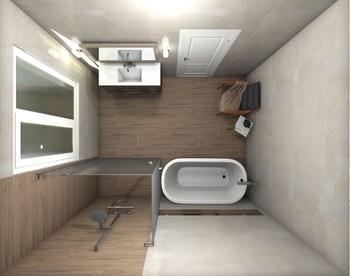 Дизайн-проект «Нежные оттенки в просторной ванной комнате»-18816
