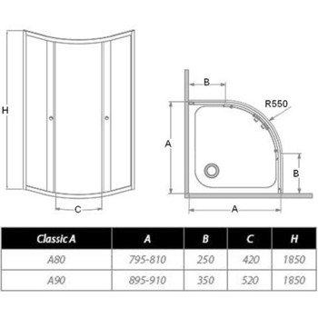 Душевое ограждение Dolphi (Classic) для высокого поддона -11494