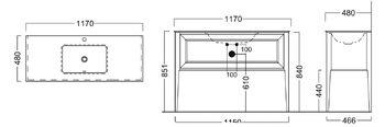 Тумба PLAZA Classic, напольная 120 см, 1 выдвижной ящик, высота 840 мм, цв. белый-14398