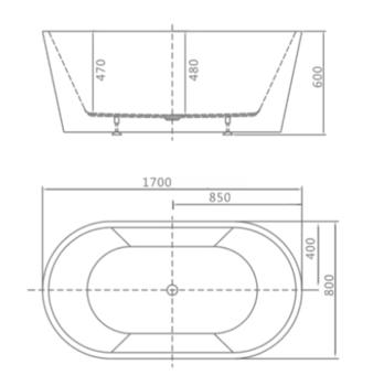 8C-015-170 Ванна GRANADA 170 1700×800×600 отдельностоящая-11555