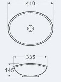 Раковина накладная овальная CS3078-16178