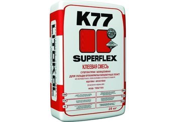 SUPERFLEX K77 Клей для крупноформатной облицовочной плитки и керамогранита, для оснований подверженных высоким нагрузкам и вибрации 25 кг.-9897