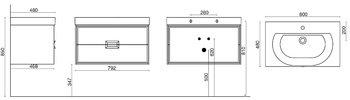 Тумба Canaletto белая 80 см-15252