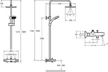 E78192-CP душевая стойка для душа/ванны JULY с термостатом и квадратным верхним душем (хром) Jacob Delafon-13035