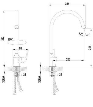 Серия plus ADVANCE. Смеситель для кухни c высоким поворотным изливом – LM1205C-12576