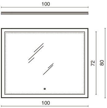 Панель с зеркалом (LED) 100x80см-13579
