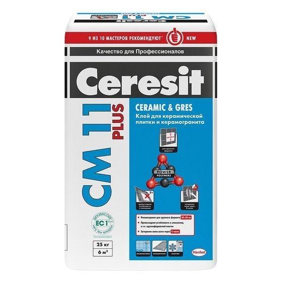 Ceresit СМ 11 Plus. Клей для крепления керамической плитки для внутренних и наружных работ и для керамогранита для внутренних работ 25 кг. - главное фото