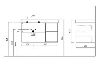 Тумба CUBO подвесная 90 левая, белый+ментс, 2 ящика + 2 открытые полки -18133