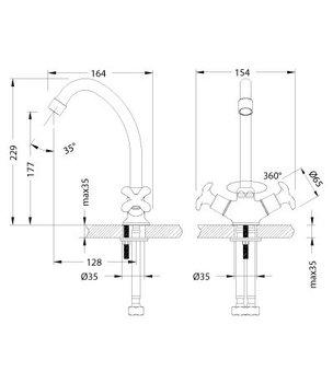 Серия FLORA. Смеситель для кухни с поворотным изливом – LM0104C-12467