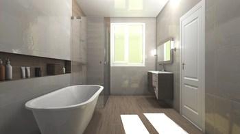 Дизайн-проект «Нежные оттенки в просторной ванной комнате»-18815