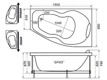 Акриловая ванна Triton Бриз (левая)-10678