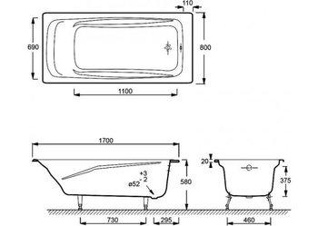 E2918-S-00 ванна REPOS 170Х80 без отверстий для ручек, без антискользящего покрытия-17987