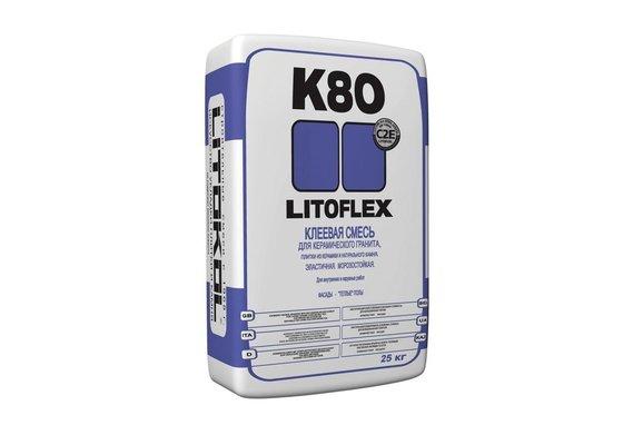LITOFLEX K80 Клей для керамического гранита, натурального камня, для «тёплых» полов и облицовки фасадов зданий 25 кг. - главное фото