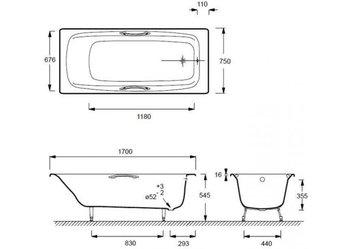 E2926-00 ванна DIAPASON 170Х75 с отверстиями для ручек-17991