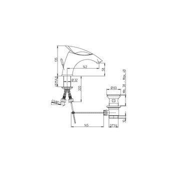Paini F1 F1CR211KM смеситель для раковины с донным клапаном-15537