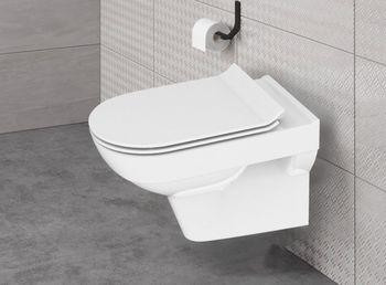 Унитаз подвесной City New Clean On с кр.дюр.slim, lift, e-off, белый-11434