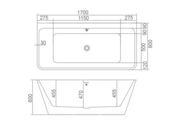 8C-356-170 Ванна SANTIAGO 170 1700×800×600 пристенная-11592