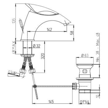 Смеситель для раковины Paini F1 -18751