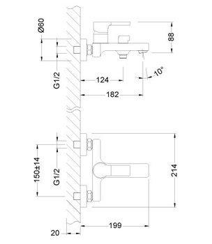 Серия AURA. Смеситель для ванны с монолитным изливом – LM0614C-12543
