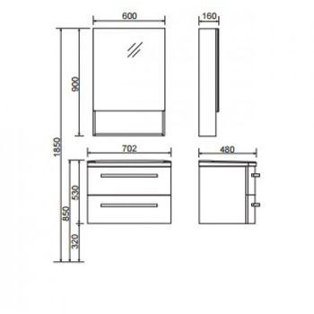 Шкаф зеркальный  FUSION (белый глянец)-15137