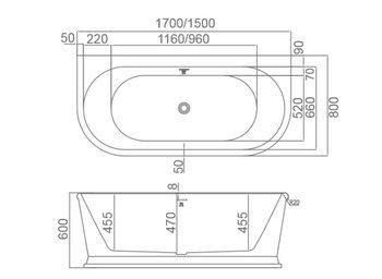 8C-353-170 Ванна ZARAGOZA 170 1700×800×600 пристенная-11589