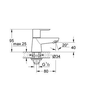 20422000 BauLoop Вертикальный вентиль GROHE-12704