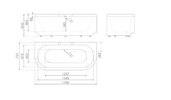 Ванна TEFA 1700×755×610 мм -11306