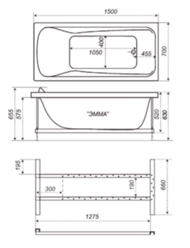 Акриловая ванна Triton Эмма 150 -10373