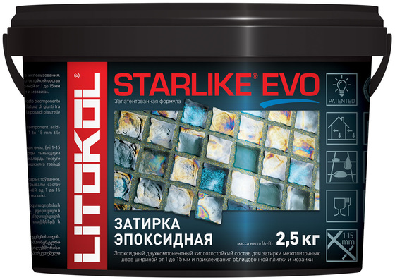 Эпоксидная затирка STARLIKE EVO  grigio seta (S.115) 2,5кг - главное фото